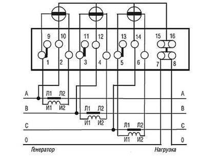 Схема подключения счетчика меркурий через трансформаторы тока