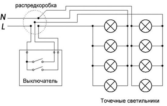 Установка точечных светильников в подвесной потолок - схемы соединения, расчёт количества ламп
