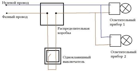 Схемы управления освещением с использованием различных типов выключателей