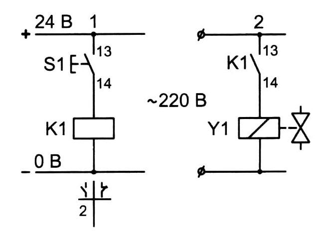 Пример электрической схемы, управления соленоидом пневматического клапана с помощью реле.