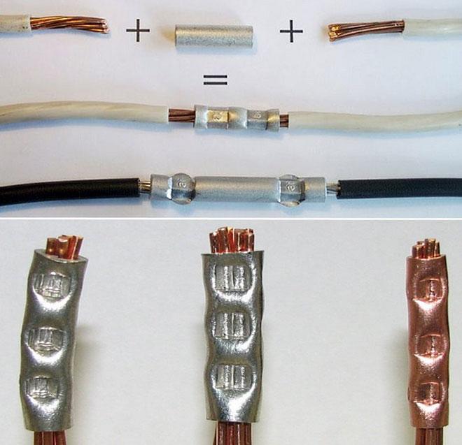 Соединение проводов опрессовочными гильзами