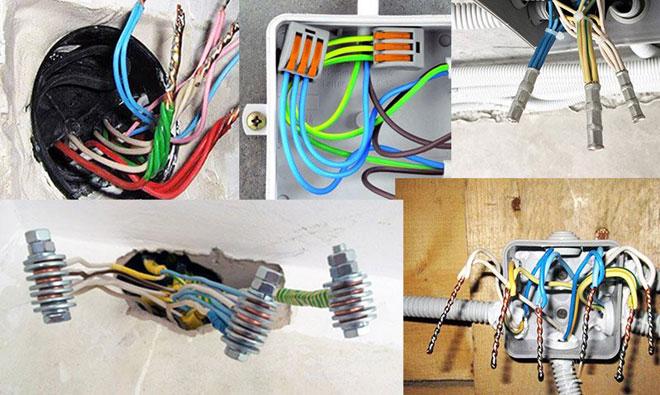 Различные способы соединения электрических проводов.