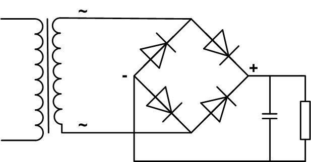 Схема диодного моста с источником переменного напряжения.