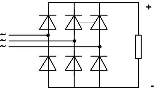 Схема диодного моста для трёхфазного источника переменного напряжения.