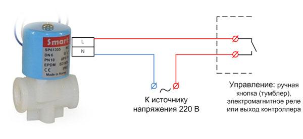 Схема подключения соленоидного клапана на напряжение 220 В.