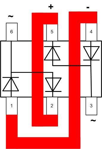 Соединение внешними проводниками сборки BAV99S, для получения полноценного диодного моста.