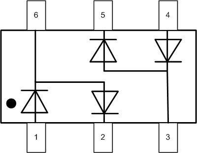 Схема диодной сборки BAV99S.