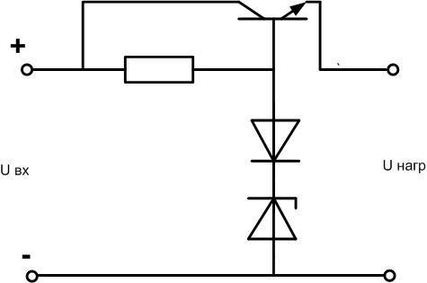 Схема включения стабилитрона с транзистором и диодом.