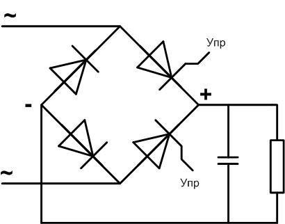 Схема управляемого диодного моста с тиристорами.