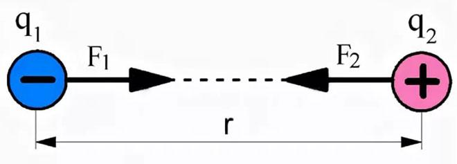 Напрвление силы Кулона для двух точечных зарядов разной полярности.