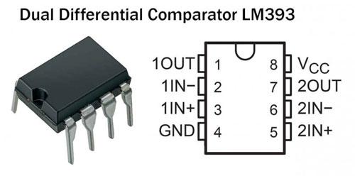 Внешний вид и схема подключения компаратора напряжения на LM393