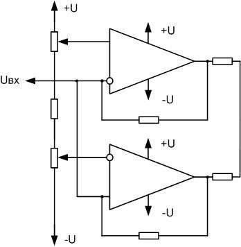 Схема двупорогового компаратора или компаратора окна.