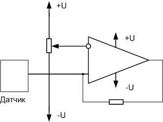 Схема компаратора с входным напряжением от датчика.