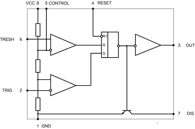 Электрическая схема микросхемы NE555.