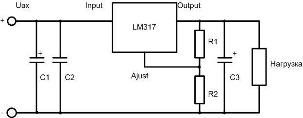 Стандартная схема включения микросхемы LM317.