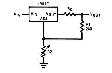Схема включения LM317 с переменным резистором R2.