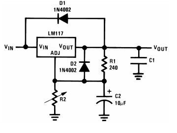Схема включения LM317 с двумя диодами D1 и D2.
