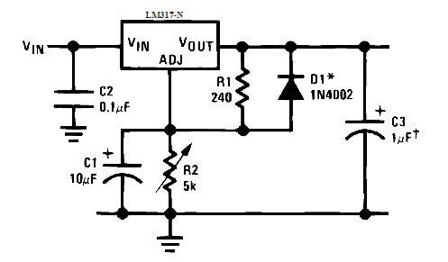 Схема включения микросхемы LM317 с конденсатором, включенным параллельно переменному резистору.