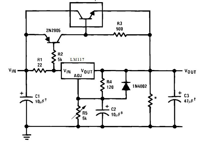 Схема включения LM317 с внешним транзисторм.