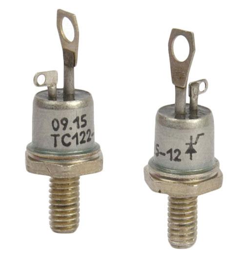 Внешний вид тиристора симметричного низкочастотного штыревого исполнения ТС122-25-12.