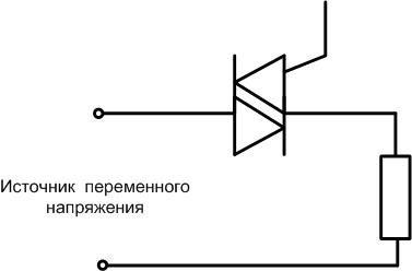Схема подключения симистора к источнику переменного напряжения.