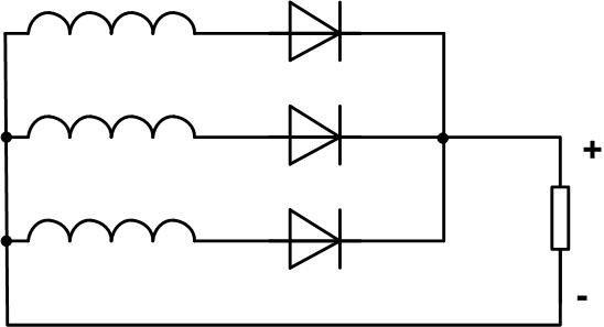 Схема трёхфазного выпрямителя.