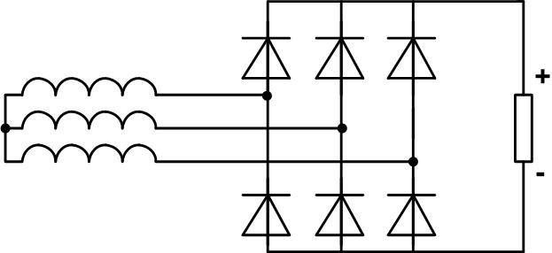 Трёхфазная мостовая схема выпрямителя напряжения.