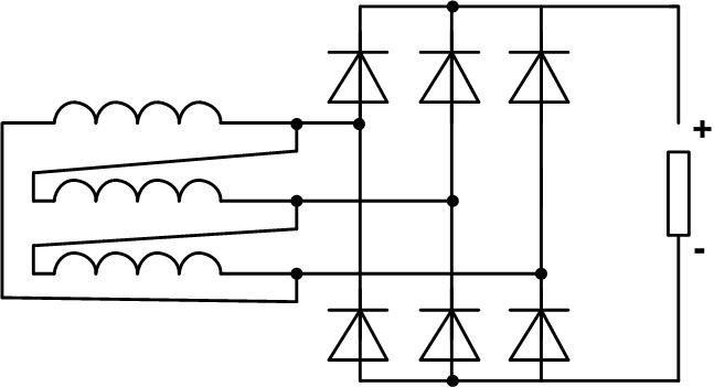 Схема трёхфазного выпрямителя с трансформатором, подключенным по схеме треугольник.