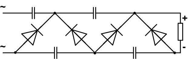Каскадная схема учитверителя напряжения.