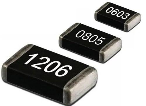 SMD резисторы 1206, 0805, 0603 внешний вид.