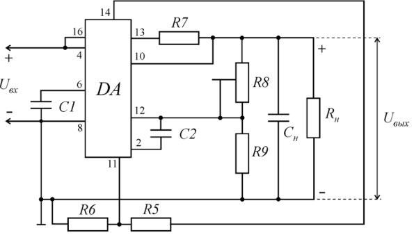Схема подключения К142ЕН1, К142ЕН2.
