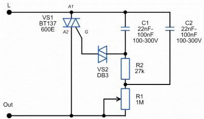 Классическая электрическая схема диммера.