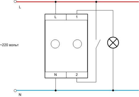 Схема подключения регулятора света модульного типа.